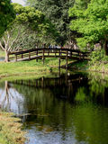 Bridge over Water. Wooden bridge crossing over pond or stream, trees and grassy shore, reflections in water Stock Photography