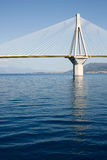 Bridge over water. Large modern suspension bridge over sea water Royalty Free Stock Image