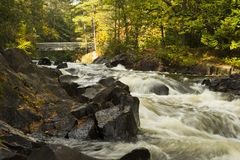 Bridge Over Water. Bridge over beautiful Dave`s Falls in Northern Wisconsin Stock Photography