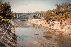 Bridge over water canal Royalty Free Stock Photography