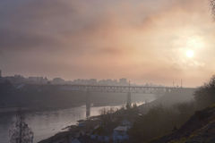Bridge. Over water in mist, morning photos Royalty Free Stock Image
