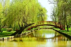 Bridge over water in park Royalty Free Stock Photo