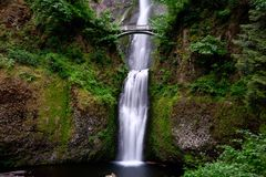 Bridge over waterfalls. Multnomah Falls in Oregon. stock images
