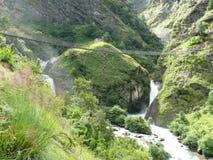 Bridge over Waterfalls near Jagat - Manaslu trekking Stock Photography