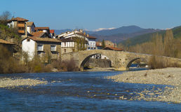 Bridge over the waters of the river Esca, Burgui Navarra Royalty Free Stock Photo