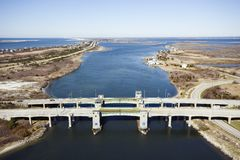 Bridge over waterway. Aerial view of aerial view of waterway with two bridges on Robert Moses Causeway, New York stock image