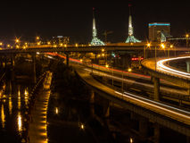 Bridge over the Willamette RIver at Night Royalty Free Stock Photography