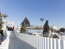 Bridge over the winter skating rink Royalty Free Stock Images