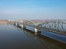 Bridge over Wisla river in Grudziadz. Poland Stock Photos