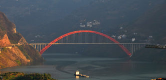 Bridge over Yangtze Small Three Gorges At Sunset Stock Photos
