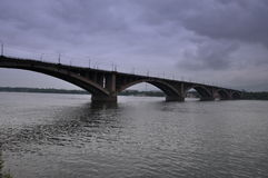 Bridge over the Yenisei Stock Image