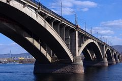 Bridge over the Yenisei rive Royalty Free Stock Photography
