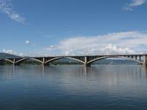 Bridge over Yenisei river. Krasnoyarsk city, Russia Royalty Free Stock Photo