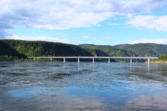 The bridge over the Yenisei River Stock Photos
