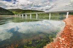 Bridge over the Yenisei River Stock Image