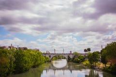 Bridge. A bridge overlooking a Roman river Stock Photo