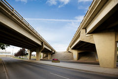 Bridge Overpass. A crossing of two highways with a concrete overpass Stock Images
