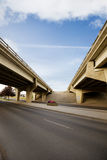 Bridge Overpass. A crossing of two highways with a concrete overpass Stock Photography
