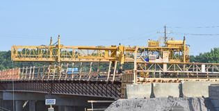 A bridge overpass under construction awaits concrete. A bridge overpass under construction over Interstate 85 in Greenville County SC USA is ready for concrete Stock Photos