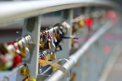 Bridge with Pad locks Royalty Free Stock Photos
