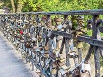 Bridge with padlocks of love stock image