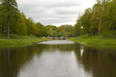 The bridge in the Palace Park. stock photos