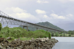 The bridge through Panama canal Stock Image