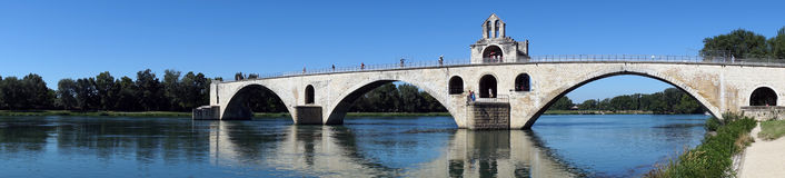 Bridge. Panorama of river and bridge in Avignon, France Royalty Free Stock Images