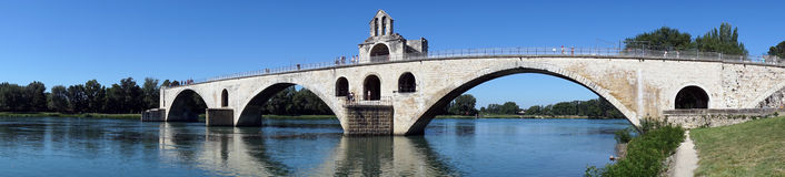 Bridge. Panorama of river Rhone and arch bridge in Avignon, France Royalty Free Stock Photo