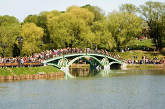 The bridge in park. On a background of green trees Stock Photo