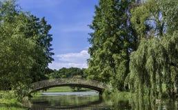 Bridge in a park stock images
