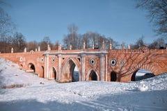 Bridge in a park. Big bridge over the ravine in Tsaritsino park during winter in Moscow, Russia stock photo