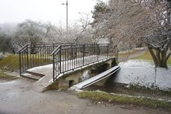 Bridge in the park. Footbridge in the park, winter landscape Stock Photo