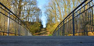 Bridge in the park during last sunny days of fall - worm`s-eye view royalty free stock images