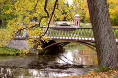 Bridge in the park Tsarskoye Selo, Russia. Stock Images