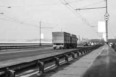 Bridge with passing cars Stock Photo