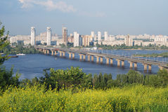 Bridge of Paton across river Dnieper, summer view Stock Photo