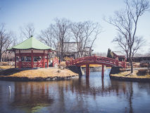 Bridge and pavilion in japanese garden Royalty Free Stock Images