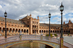 Bridge and Pavilion at Plaza de Espana in Seville Stock Photography
