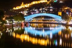 Bridge of Peace at night in Tibilisi, Georgia Royalty Free Stock Images