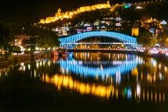 Bridge of Peace at night in Tibilisi, Georgia Stock Photo