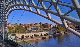 Bridge of Peace and urban skyline of Tbilisi Royalty Free Stock Photos
