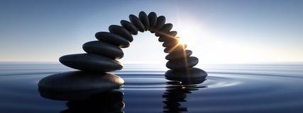 Bridge of pebbles in the sea at sunrise sunset stock illustration