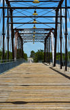 Bridge for Pedestrians and Bicycles. A railroad bridge that was converted to a pedestrian and bicycle bridge Stock Photos