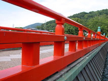Bridge perspective. A traditional wooden Japanese bridge Royalty Free Stock Photography