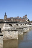 Bridge. Photograph of the castle and the bridge of gien in the loiret Royalty Free Stock Images