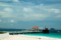 Bridge pier in the Andaman Sea Royalty Free Stock Photography