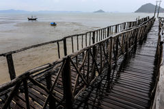 Bridge pier On the Gulf of Thailand Royalty Free Stock Photo