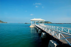 Bridge pier. In the Sea of thailand stock photos