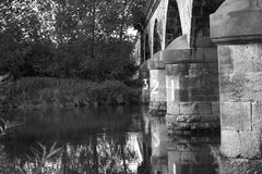 Bridge. Pillars of an old railway  in black and white Stock Photography